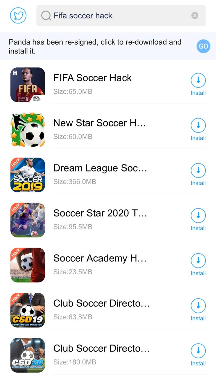 Search 'FIFA Soccer Hack' on iOS